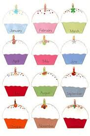 birthday cupcakes to post class birthdays Print Laminate and write birthdays with vis a vis markers Wipe and use for the next year