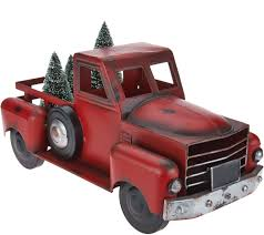 100 Antique Metal Toy Trucks Vintage Red Truck With 3 Removable Bottlebrush Treesby Valerie