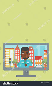 Television Set Broadcasting News Africanamerican Reporter Stock Vector 441408088