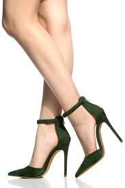 green faux suede ankle strap pointed toe pumps cicihot heel