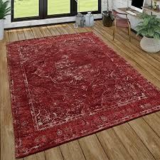 paco home orient kurzflor teppich wohnzimmer shabby chic look orientalisches design in rot grösse 80x150 cm