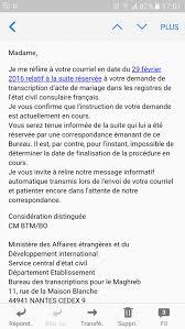bureau de transcription nantes mariage sans ccm tunisie 2016