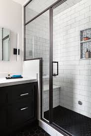 fabulous black and white bathrooms with oval shape white toilet