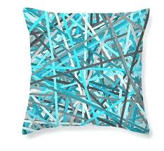 Green And Grey Pillows Turquoise Gray Throw Blue