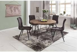 wohnling design esszimmertisch bagli ø 120 x 78 cm sheesham massiv holz braun für 4 personen