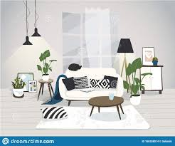modernes trendiges wohnzimmer im skandinavischen stil helle