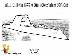 High Tech Destroyer For Coloring Kids