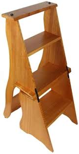 Solid Wood Folding Step Stool, Portable 4-Step Stool, Flower ...