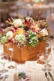 Rustic Fall Wedding Flowers Inspired Flower Box Centerpiece