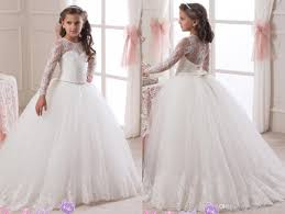 2016 lace long sleeves rhinestones ball gown flower dresses