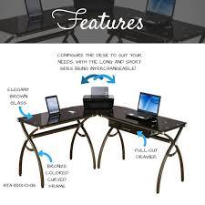 Studio Rta Desk Glass by Amazon Com Tempered Glass L Shaped Corner Desk With Drawer Color