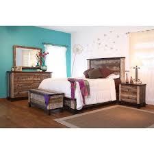 Rustic 6 Piece Queen Bedroom Set Antique