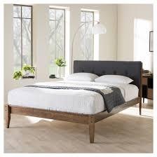 leyton mid century modern fabric upholstered platform bed king