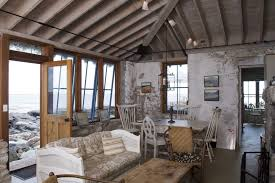 Rustic Cottage Decorating Ideas Living Room With Stone Walls Ceiling Beams Coffee Table