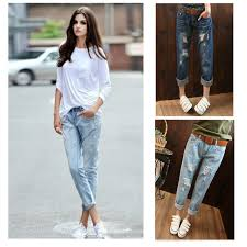 2015 Summer Style Women Denim Roll Up Cuffs Pants Retro Vintage Loose Hole Jeans Washed