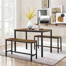 vasagle essgruppe kdt070b01 3 tlg 2 x bank 1 x esstisch küchentisch set 110 x 70 x 75 cm vintage