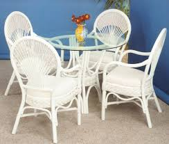 Get Quotations Liberty Whitewash Rattan And Wicker Indoor 6 Pc Arm Chairs Round Dining Set From