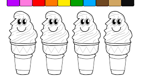 Learn Colors For Kids And Color With Smiley Face Ice Cream Cones Inside Cone Coloring Page