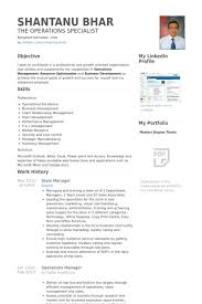 Ultimate Sample Resume For Operations Manager In India Also Store Samples Visualcv Database