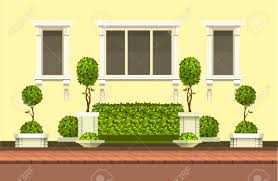 Vector Clipart Building With Hedge Topiary Trees And A Place