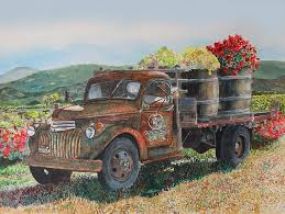 Wine Country Vintage Harvest By Gail Chandler Watercolor