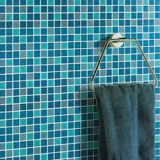 square glass tile bathroom powder mosaic patterns washroom wall blue