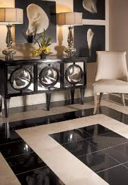 This Living Room Floor Is Covered In Polished Absolute Black Granite And Honed Mediterranean Ivory Travertine Tile From Daltile