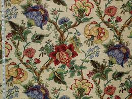 Jacobean Floral Design Curtains by Jacobean Greeff Fabric Jacobean Indienne Tulip Lily 4 Yards