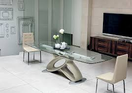 Collection In Contemporary Glass Dining Room Furniture With Wood Table Kitchen Cabinets