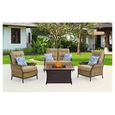 Patio Furniture Conversation Sets With Fire Pit by Hudson Square 4pc All Weather Wicker Patio Conversation Set With