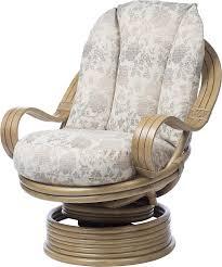 Desser Light Oak Deluxe Swivel Rocker Chair In Flora Fabric - 360 ...