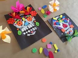 Mixed Media Splendid Sugar Skulls Finger Painting Foam Shapes And Paper Flowers