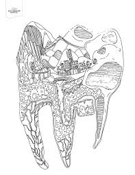 Tooth Cityscape Coloring Page