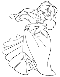 Princess Ariel In Pretty Dress Coloring Page