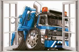 100 Huge Trucks 3D Koolart Window View Scania Tipper Wall Sticker Poster