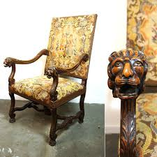 RESERVED Antique Carved Lion Head Needlepoint Throne / Carved ... Gothic Revival Oak Glastonbury Chair Sale Number 2663b Lot Antique Carved Walnut Throne Arm Bucks County Estate Truly Stunning Medieval Italian Stylethrone Scissor X Large Victorian A Pair Of Adjustable Recling Oak Library Chairs Wick Tracery Cathedral My Parlor Room Purple Reproduction Shop Pair Jacobean Style Armchairs In Streatham Charcoal Gray Painted Rocking By Just The Woods Wicker Seat Side At