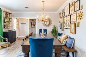 Los Angeles Attractive Inspiration Gold Chiavari Dining Room Eclectic With Blue Chair Chairs Accent Pillows
