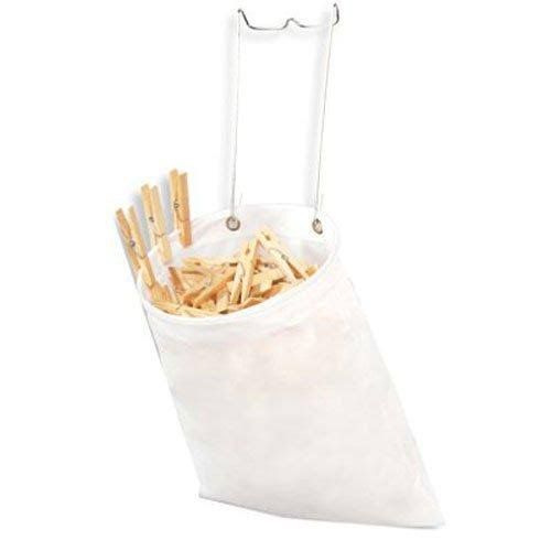 Clothespins Hanging Bag - White