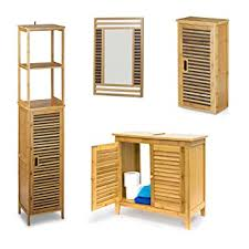 spiegel aus bambus 4 teilige badezimmer einrichtung badregal