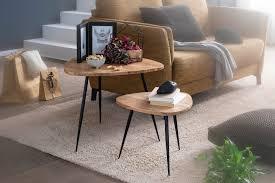 wohnling 2er set satztisch akazie massivholz metall couchtisch klein design beistelltisch set zwei holz tische wohnzimmertisch tisch