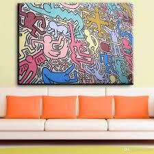 großhandel zz1881 graffiti leinwand kunst abstrakte leinwand bilder keith haring öl kunst malerei für wohnzimmer schlafzimmer dekoration lisaart