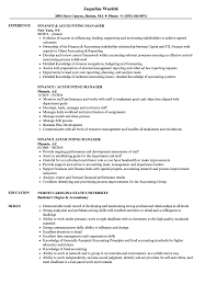 Accounting Resumes Templates Finance Manager