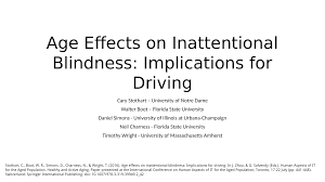 Age Effects on Inattentional Blindness Implications for Driving