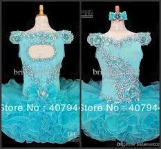 2016 little girls cupcake glitz pageant dresses blue flower beaded