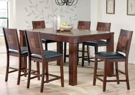 Walnut Veneer Pub Table And Dining Chairs (6)