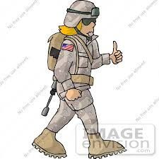 18943 Female Soldier Giving The Thumbs Up Clipart By DJArt