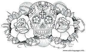Adult Coloring Pages Printable Very Difficult Sugar Skull For Adults Flowers