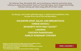 Olive Garden Menu Prices & Veterans Day 2015 Specials