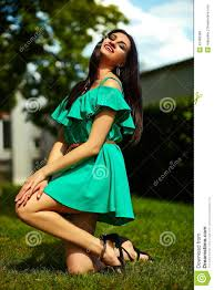 stylish woman on casual green dress stock photo image 42480388