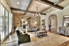 Rustic Ceiling Beams Ideas Family Room Traditional With Wood Floor Beige Rug
